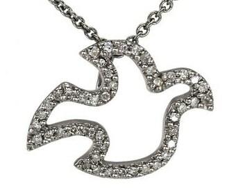 Gold Diamond Dove Pendant  Diamond Dove Bird  14K Gold Chain Dove Necklace, Bird Lover Gift for Women, Delicate Diamond Pendant Gift For Her