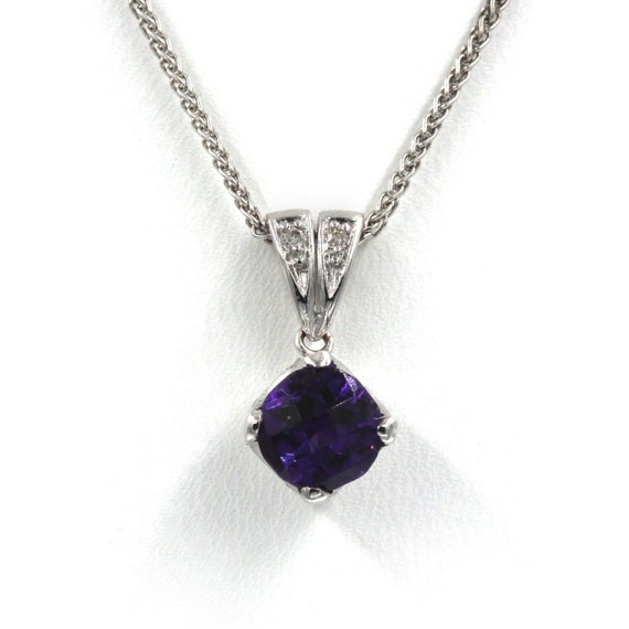 Amethyst Diamond Pendant  Antique Style Amethyst P