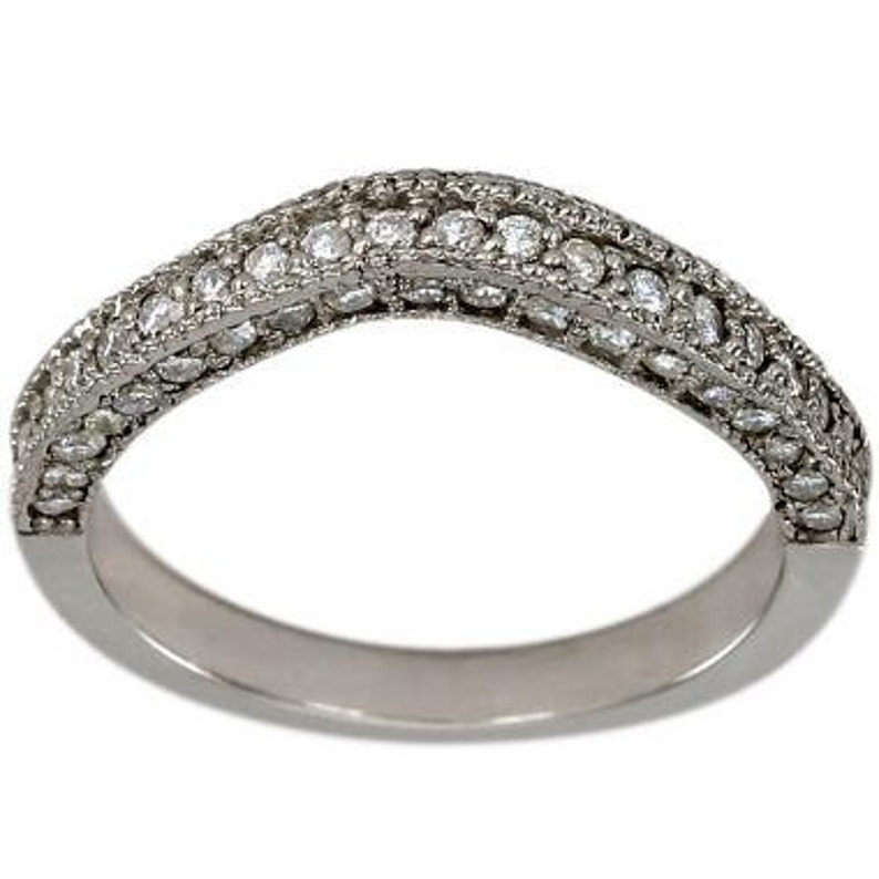 Original 1 Carat G-h Diamond Filigree Milgraining Wedding Ring Band Set 14k White Gold Engagement & Wedding Jewelry & Watches