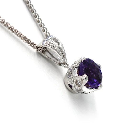 Amethyst Diamond Pendant  Antique Style Amethyst … - image 3