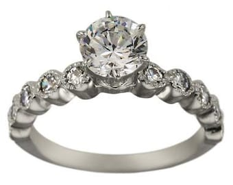 Diamond Engagement Ring In 14K White Gold With Bezel Set Diamond Ring Accents