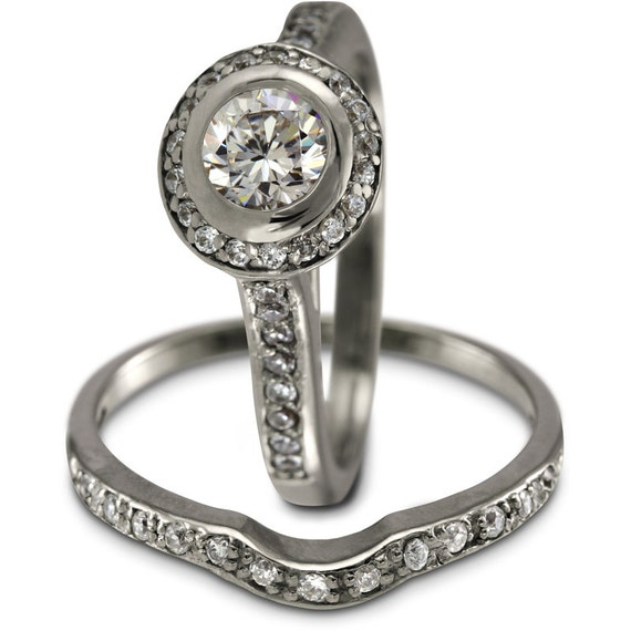 Halo Engagement Ring Set Stacking Ring Set Bridal Sets Etsy