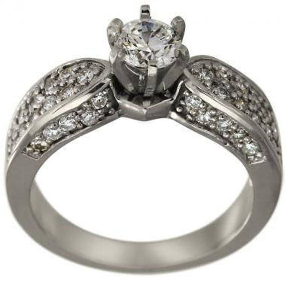 Unique Engagement Ring 1/2 Carat Pave Diamonds Ring 14K
