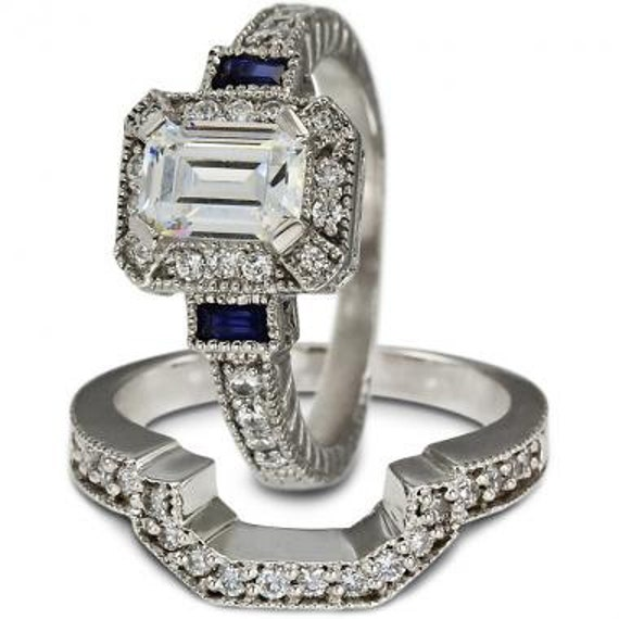 Diamond Engagement Ring Wedding Ring Set Blue Sapphire Etsy
