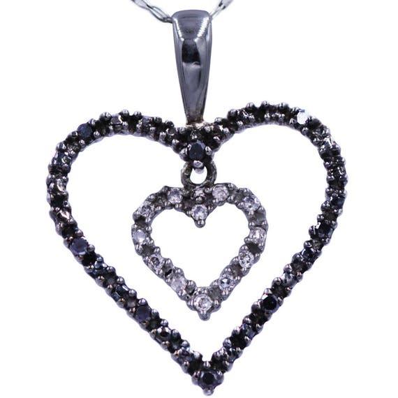 Two Diamond Heart  Black And White Diamond Heart