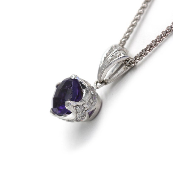 Amethyst Diamond Pendant  Antique Style Amethyst … - image 2