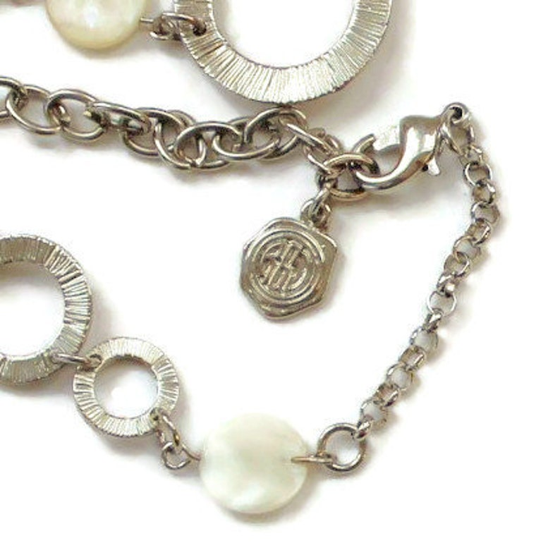 RJ Graziano Mother Of Pearl Circle Ring Necklace in Silver Tone Long Necklace Rhinestone