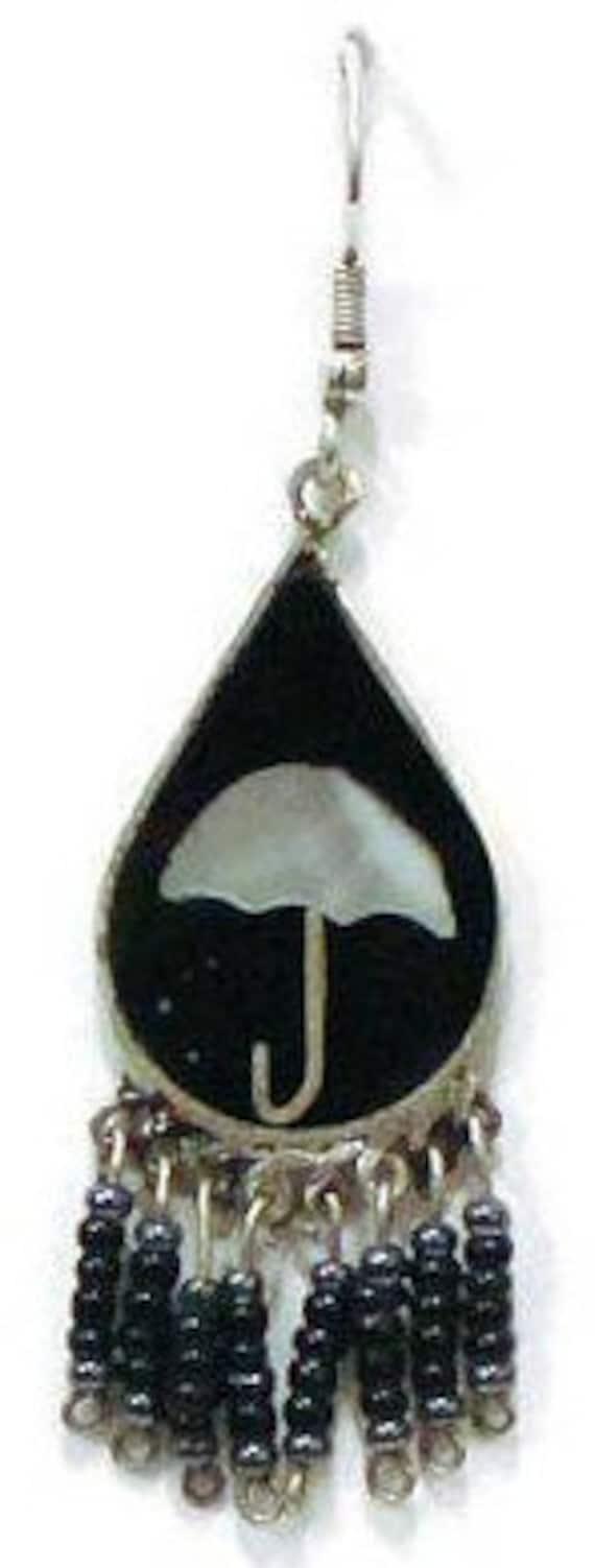 1970's Umbrella Earrings, Beaded Dangle With Blac… - image 7