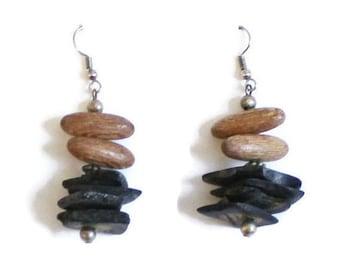 Rustic Boho Wood Bead Earrings, Nature Jewelry