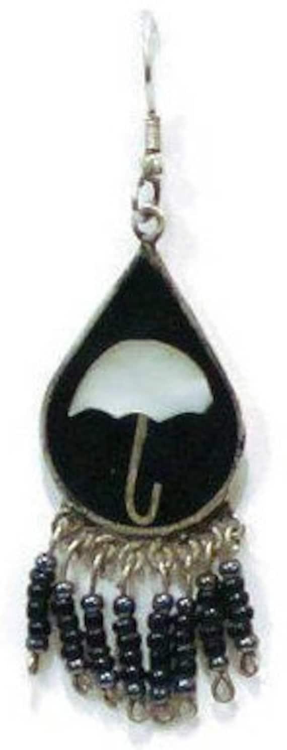 1970's Umbrella Earrings, Beaded Dangle With Blac… - image 6