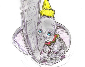 gift. Wall art. Disney, Dumbo, elephant. Art. print, handmade drawing, gift,