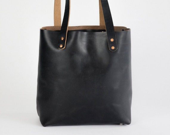 Leather Tote Bag made with Horween Black Chromexcel Leather Purse