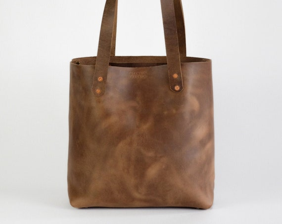 Leather Tote Bag made with Horween Natural Chromexcel Leather Purse