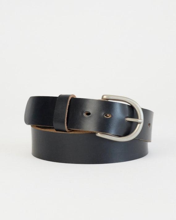 Horween Black Chromexcel leather Daniel belt