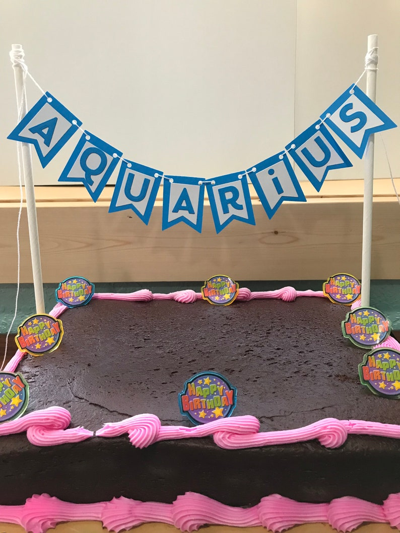 Aquarius Cake Banner Bunting Birthday Zodiac Decor Party Sign