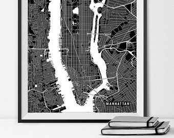 Manhattan Map Art Print / New York City Art Poster / NYC Map / New York Gift Wall Art Decor