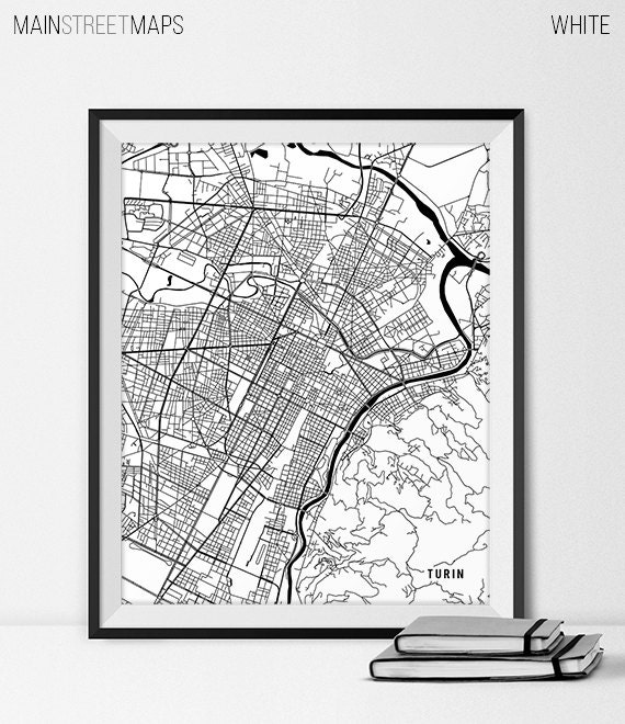 Turin Italy Map Art Italy Art Print Turin Map Of Turin City Etsy