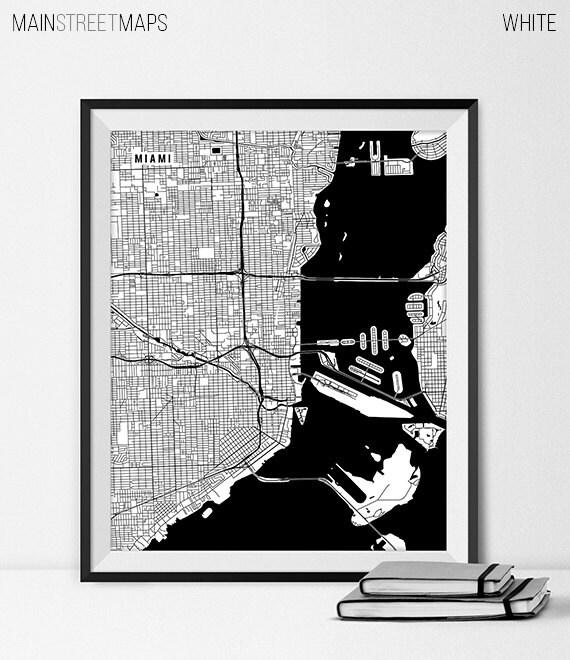 Map Miami Florida.Miami Map Print Miami Poster Of Florida Map Of Miami Print Etsy