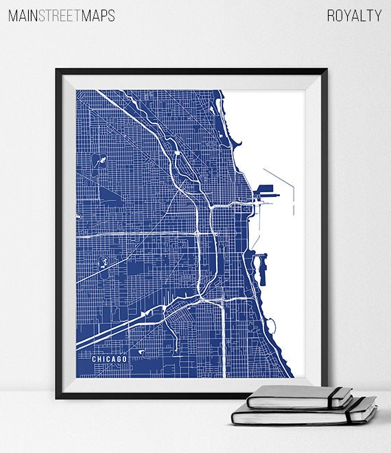 Chicago Map Art Print Chicago City Map Of Chicago Art Poster Etsy