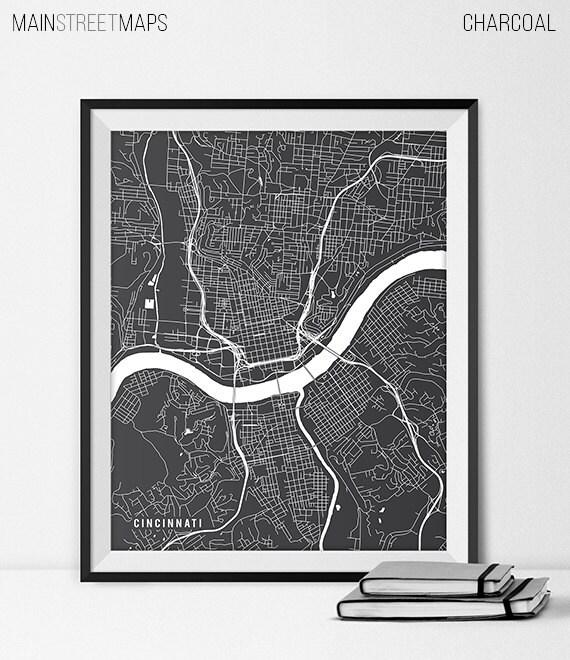 Impresion Del Arte Del Mapa De Cincinnati Ohio State Etsy
