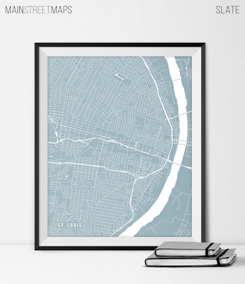 St. Louis Map Print St. Louis Poster of Missouri Map of St | Etsy