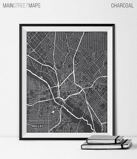 Items similar to Dallas Map Art Print, Dallas City Map of Dallas