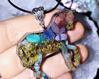 Unicorn Orgone Pendant, Reiki Infused Orgone Jewelry, Spiritual aid for Meditation, Jewelry for the Soul, Playful Jewelry
