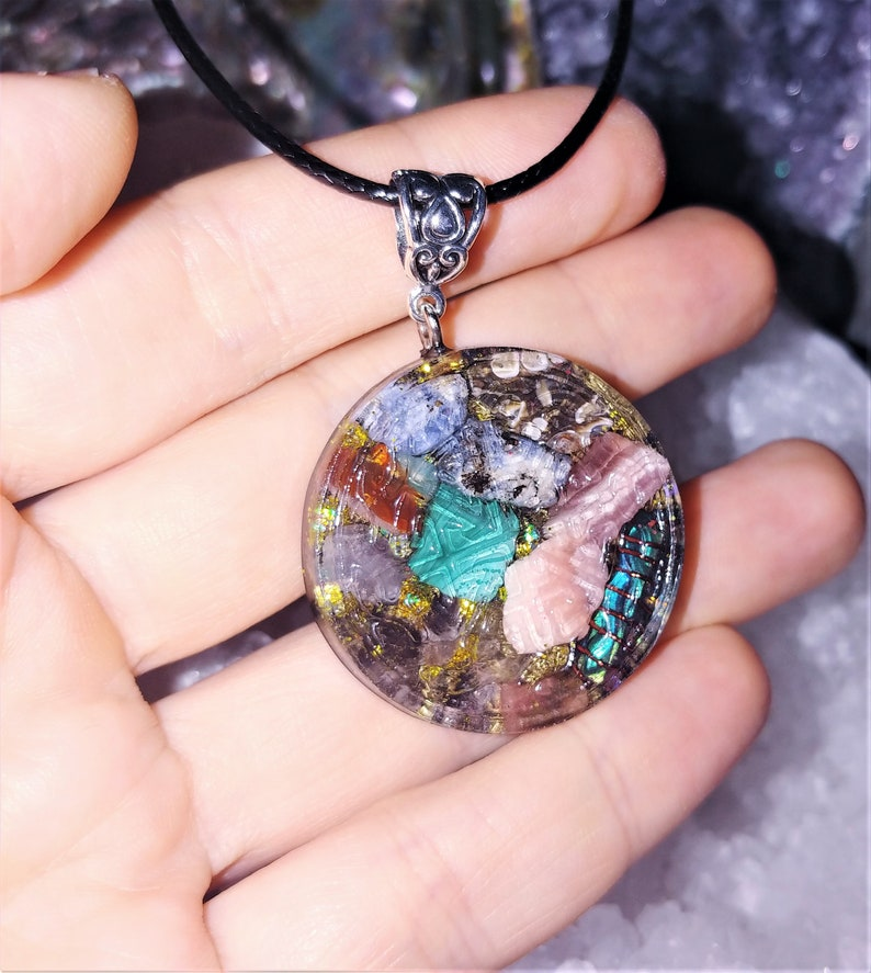 Psychic Protection Reiki Healing 528 Hz frequency,Starseed Jewelry,Meditation Jewelry Celtic Orgone Crystal Necklace