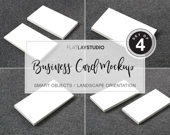 Business card mockup etsy business card mockup set of 4 landscape orientation flat lay minimalist styled stock photo 129 reheart Choice Image