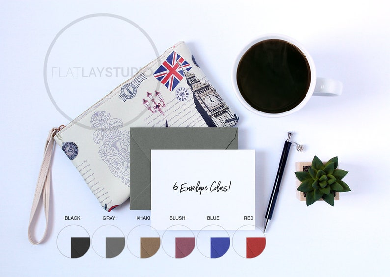 STATIONARY MOCKUP / 6 Envelope Colors / Flat Lay Minimalist Styled Stock  Photo / #130