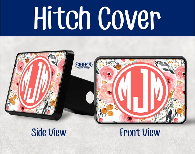 Hitch Hitch Plug SUV Custom Hitch Cover Truck New Driver Gift Pink Flower Monogram Hitch Cover Floral Trailer Hitch Cover