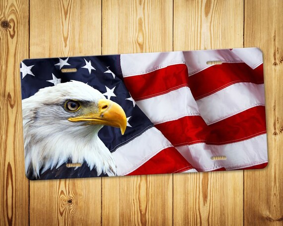 Proud To Be An American Eagle Flag License Plate