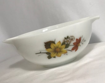 Vintage JAJ Pyrex Autumn Glory Dahlia Flower Mixing Bowl