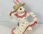 RARE Dancing Easter Bunny Rabbit in Polka Dot Dress Teapot Fitz & Floyd Omnibus OCI Retired Easter Parade