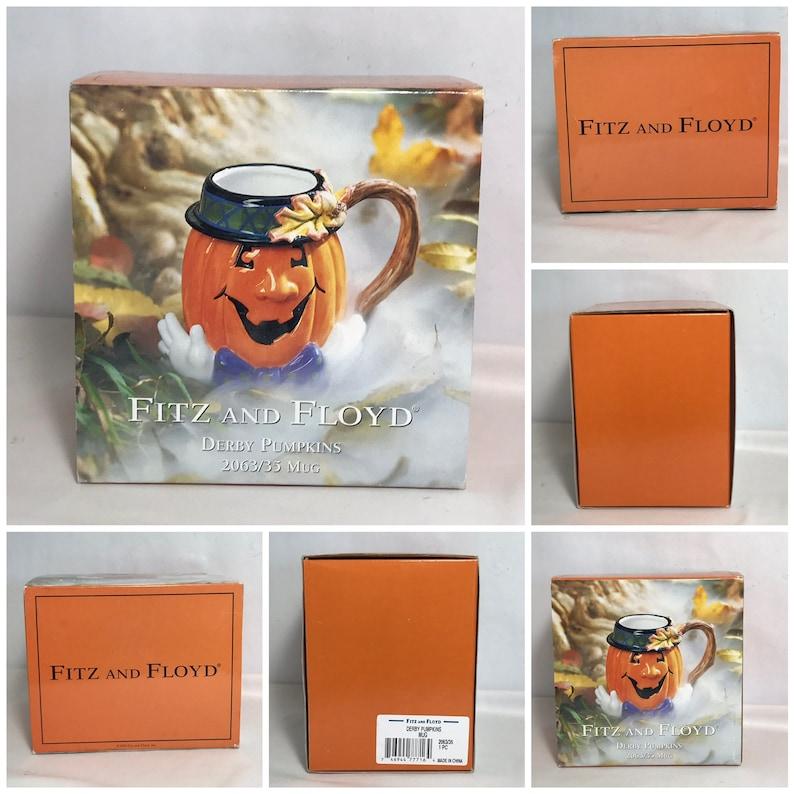 Fitz and Floyd Halloween Derby Pumpkin Cup Mug Fall Decor NIOB