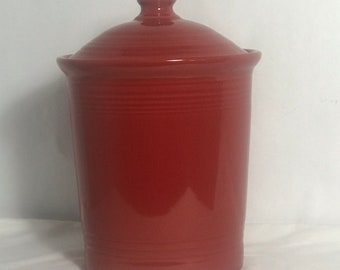 Fiestaware Scarlet Large Storage Canister & Cookie Jar 3 Quart W Lid