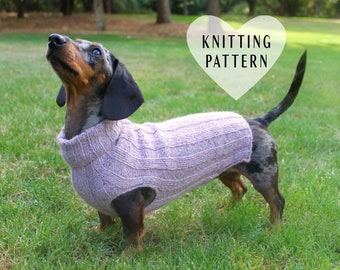 KNITTING PATTERN, Top-Down, Mini Dachshund, Dog Sweater, pet clothes, dogs, little dog, DIY project, knit, knitted, doxie, wiener dog, pets