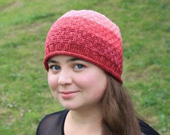 LEARN TO KNIT, Pattern 6 1/2, Gradient Hat, Basket Weave, Knit Hat, Pink Hat, Knitted Beanie Hat, Mosaic Moon, Knitting Pattern, Winter Hat