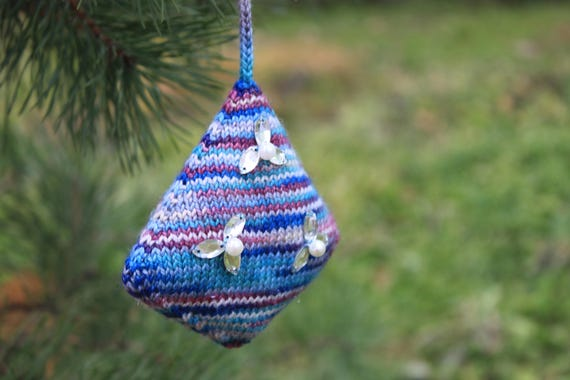 Knitting Pattern Diamond Christmas Tree Ornament Etsy