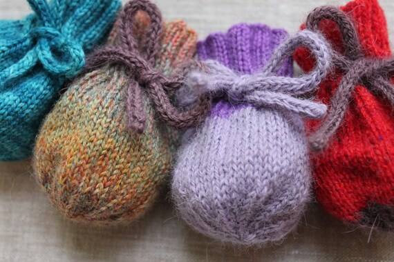 Knitting Pattern Knit Treasure Bag Scrap Yarn Case Etsy
