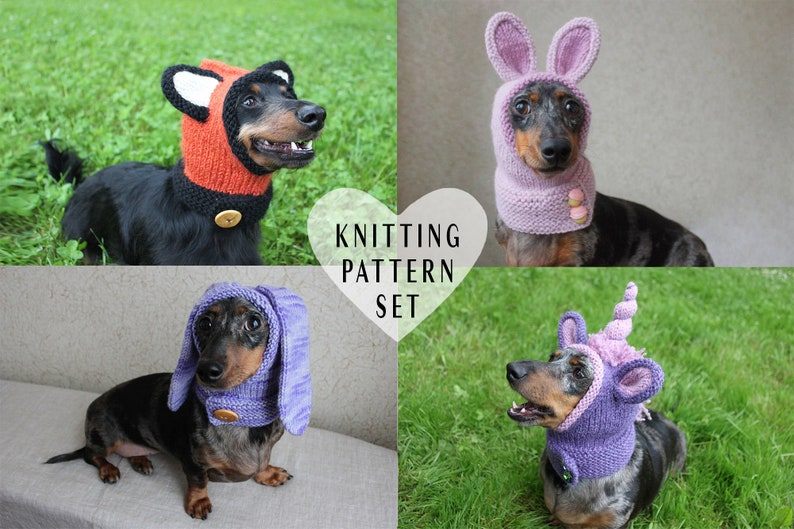 698c511643c KNITTING PATTERN BUNDLE Dog Hoods Dog Hats Pet Clothes