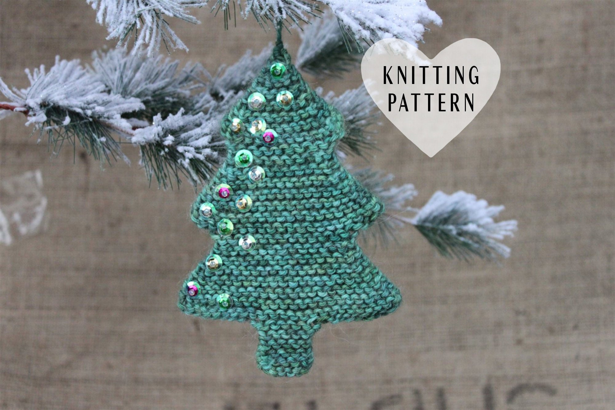 KNITTING PATTERN Knitted Christmas Tree Ornament Knit