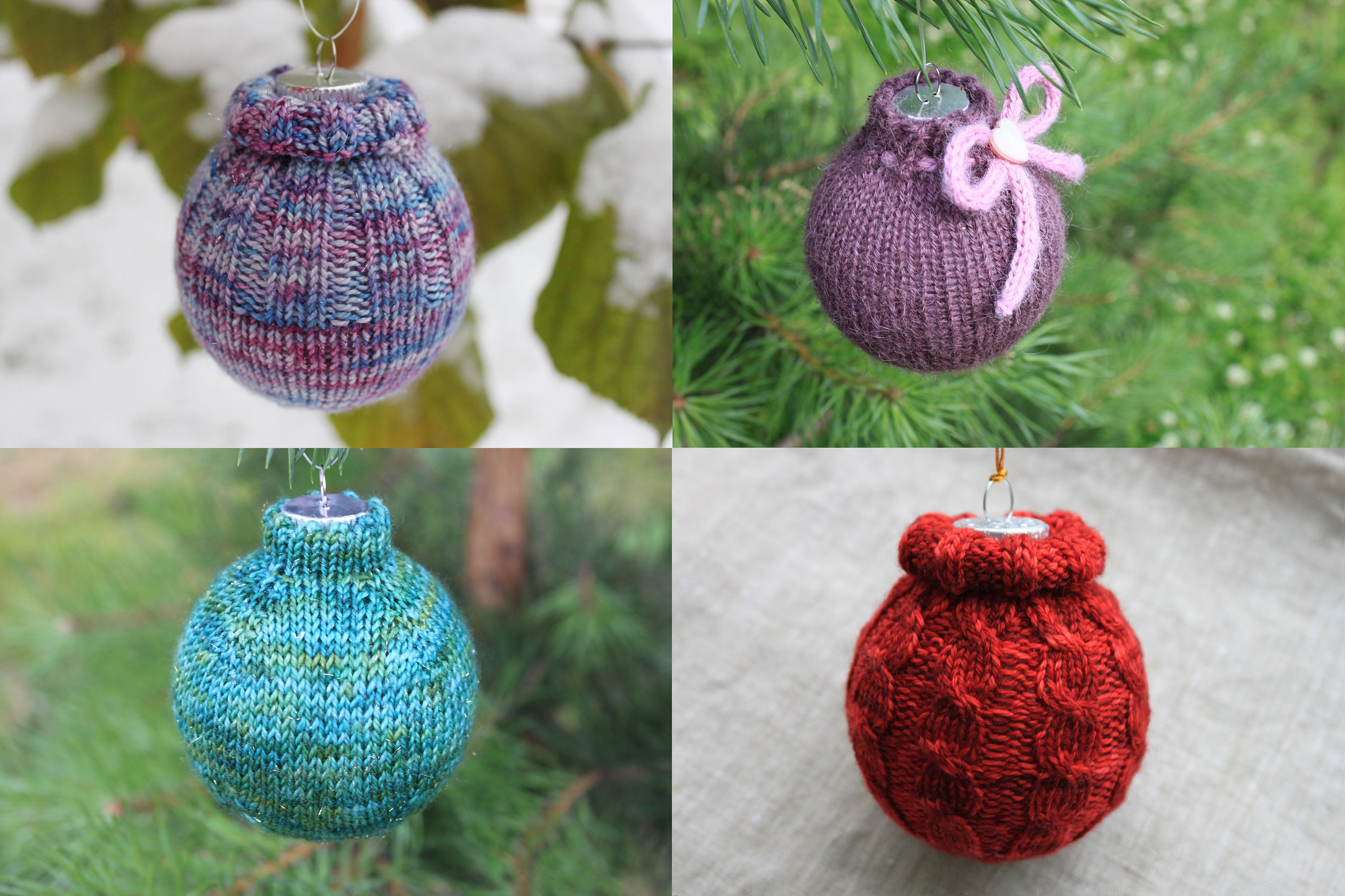 KNITTING PATTERN BUNDLE Knitted Christmas Ornaments Cozy | Etsy