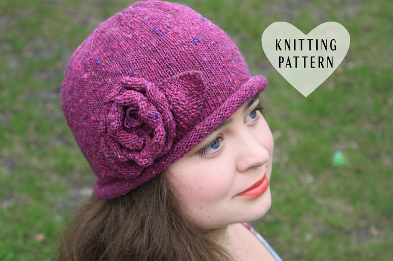 KNITTING PATTERN Rose Hat knit knitted hat DIY project  dad5b5b156b