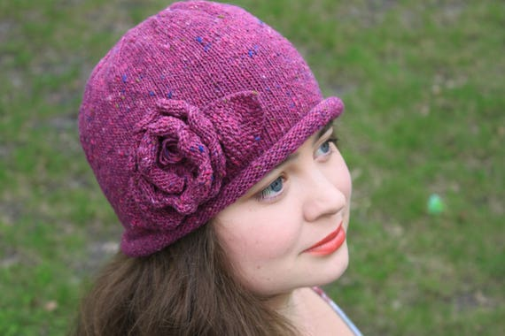 815e9cb0974 KNITTING PATTERN Rose Hat knit knitted hat DIY project