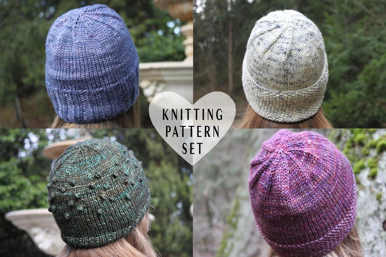 3acb0f8e376 KNITTING PATTERN BUNDLE Knitted Hats Winter Hat