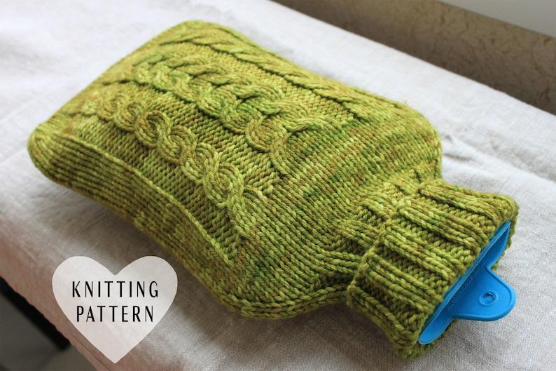 KNITTING PATTERN Hot Water Bottle Cozy Knitting Pattern image 0