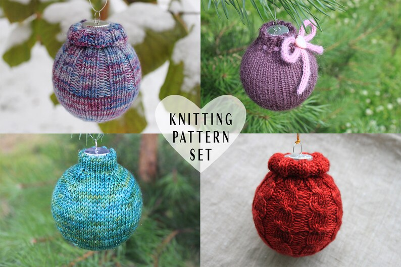 Knitting Pattern Bundle Knitted Christmas Ornaments Cozy Sweater Hanging Ornament Knitting Project Christmas Tree Decoration Cables