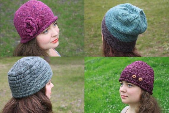 Knitting Pattern Bundle Hat Set 4 Hats Knit Hat Beanie Etsy