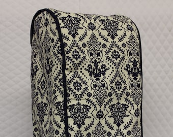 Blue Damask Quilted Food Processor Cover